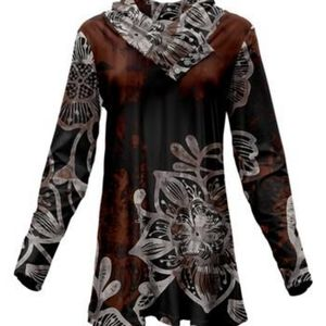 BROWN & WHITE ABSTRACT BUTTON SHAWL COLLAR TUNIC